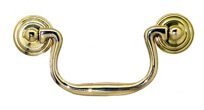 brass swan neck pull with 3 12 inch on center boring the stamped brass rosette diameter is 1 18 inches the bail is cast brass
