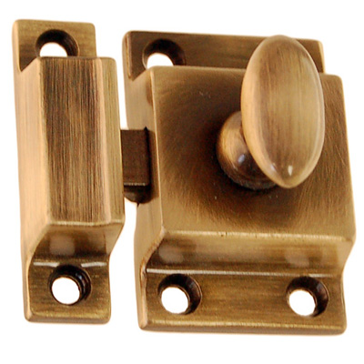 Die cast brass high quality cupboard latch with antique brass finish. Latch  is 1 1/8 inches wide by 1 3/4 inches tall. Catch is 1/2 inch wide by 1 3/4  ... - Better Quality Latch Antique Brass Finish. Item # BQUL5, Winter