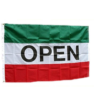 OPEN Nylon Flag Green White & Red  3' X 5'  Item # FLGOPNYGWR
