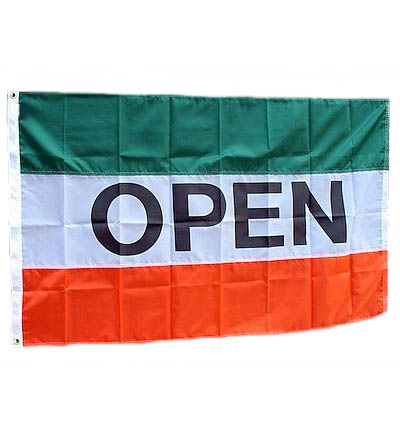 OPEN Nylon Flag Green White & Orange 3' X 5'   Item # FLGOPNYGWO