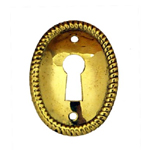 Victorian brass keyhole cover vertical oval Item # SBK4