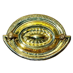 Heppelwhite oval brass drawer pull. Item # SBP14