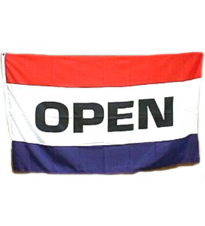 OPEN Flag - Red, White & Blue 3' X 5' -- Item # FLGOP