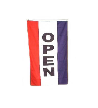 Vertical OPEN Flag - Red, White & Blue 3' X 5' -- Item # FLGVOP