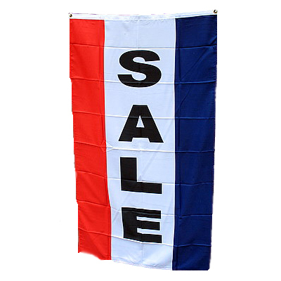 Vertical SALE Flag - Red, White & Blue 3' X 5' - Item # FLGVSL