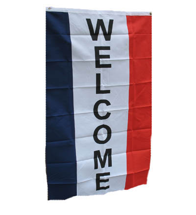 Vertical WELCOME Flag - Red, White & Blue 3' X 5' - Item # FLGVW