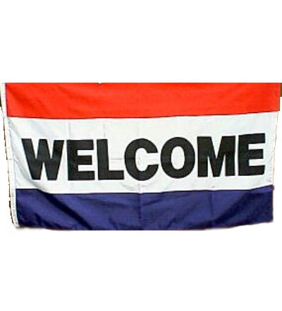 WELCOME Flag - Red, White & Blue 3' X 5' -- Item # FLGWL