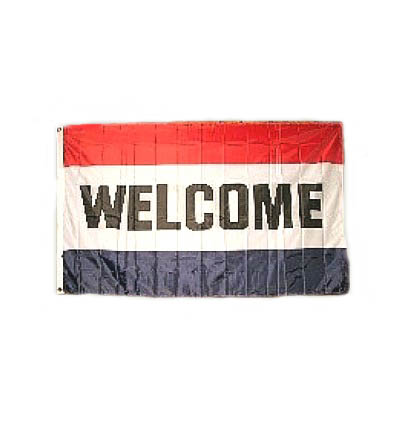 WELCOME Flag Printed Both Sides 3\' X 5\' Item # FGWL2S
