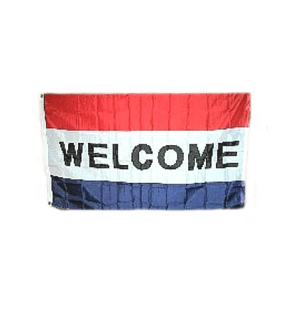 WELCOME Flag - Better Quality 3' X 5' -- Item # FLGWLBQ