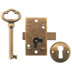 Antique Brass Surface Non-Mortise lock. Item # LOCK4